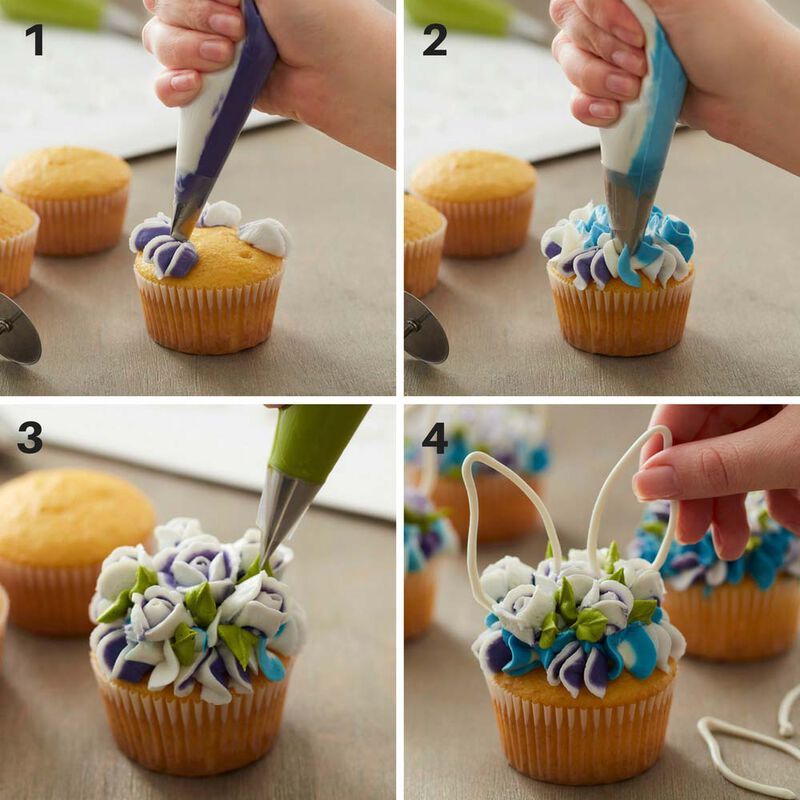 How to make floral easter bunny cupcakes image number 2
