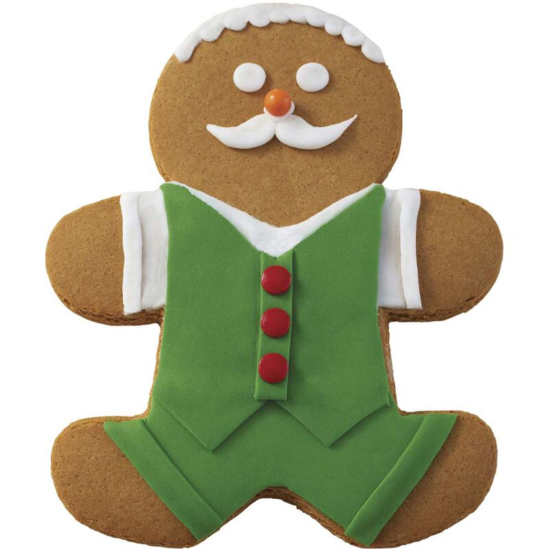 Holiday Dressed Up Gingerbread Boy with Moustache image number 0