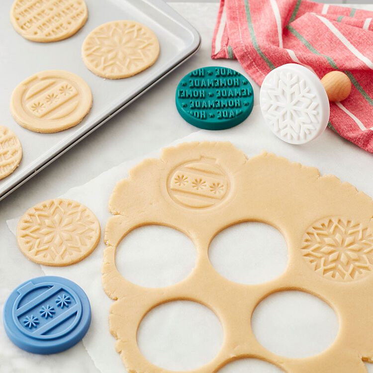 Stamped Cookies Recipe - Easily decorate cookies using the embossed cookie stamps
