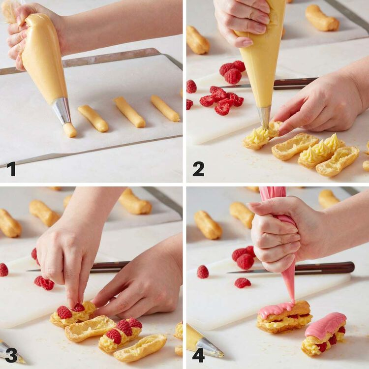 White Chocolate Raspberry Eclairs Recipe