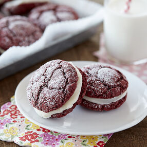Red Velvet Sandwich Cookies with Cream Cheese Frosting Filling