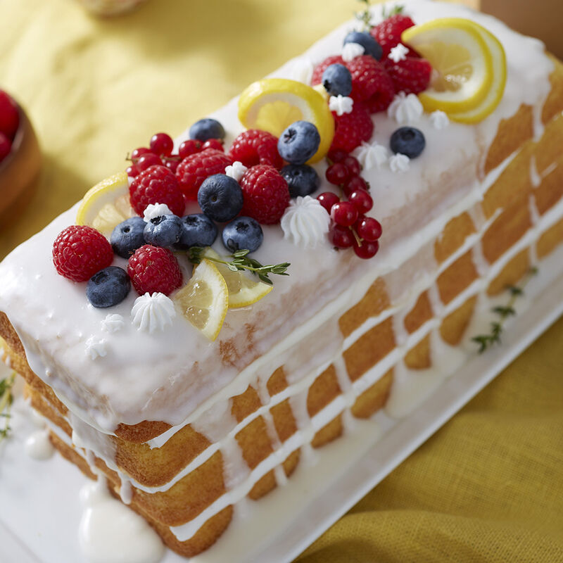 Summer Fruit Loaf Cake using Easy Layers Loaf Pan with fresh fruit on top image number 0