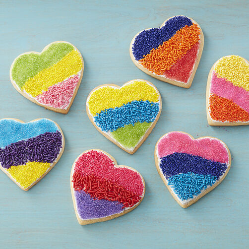 Color Block Heart Cookies