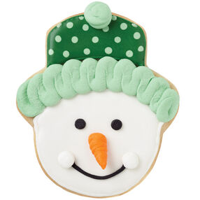 Green Knit Cap Snowman Cookies