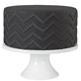 Black Chevron Stripe Fondant Cake