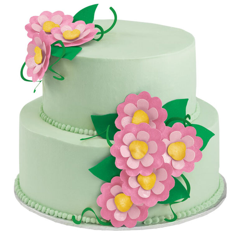 Flowers In Bloom Two-Tiered Cake
