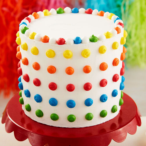 how to make polka dots on cake with icing