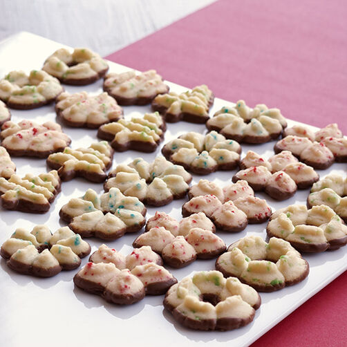 Christmas Spritz Cookies with Colorburst Batter Bits