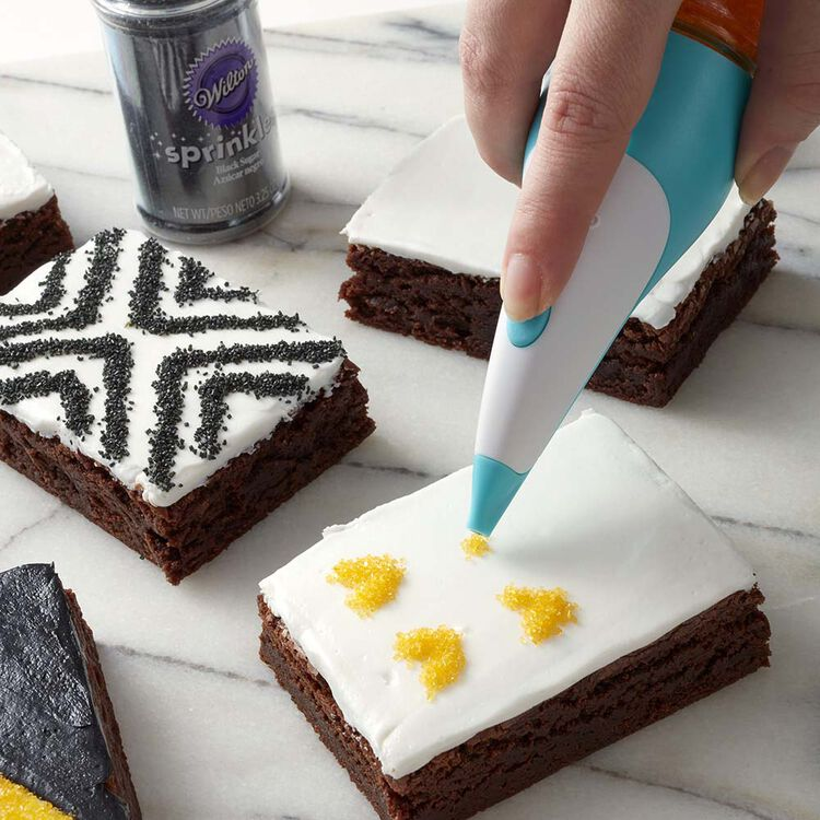 How to use the Sugar Writer Sanding Sugar Pen to create graphic black, white and yellow iced brownies