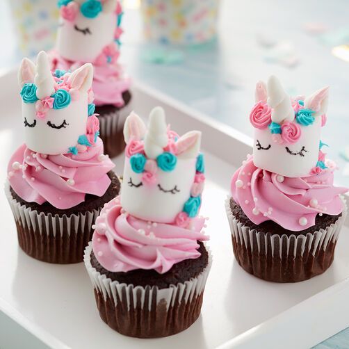 Magical marshmallow unicorn cupcakes wilton for Kitchen accessories cupcake design