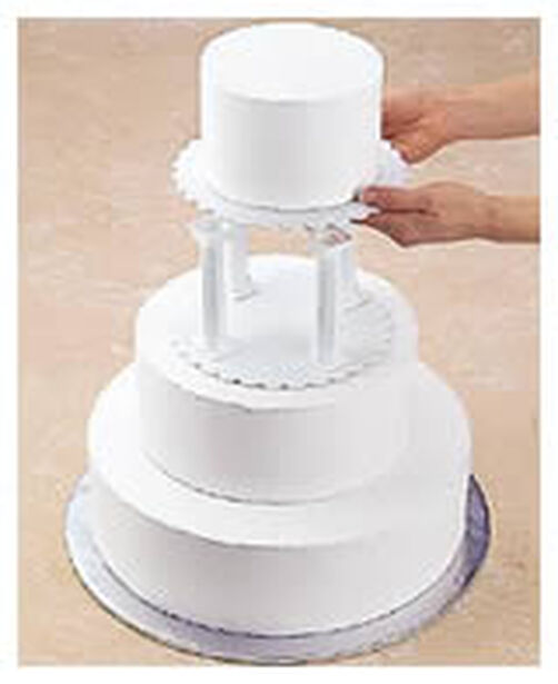 wedding cake plates and pillars pillar amp stacked cake construction wilton 23505