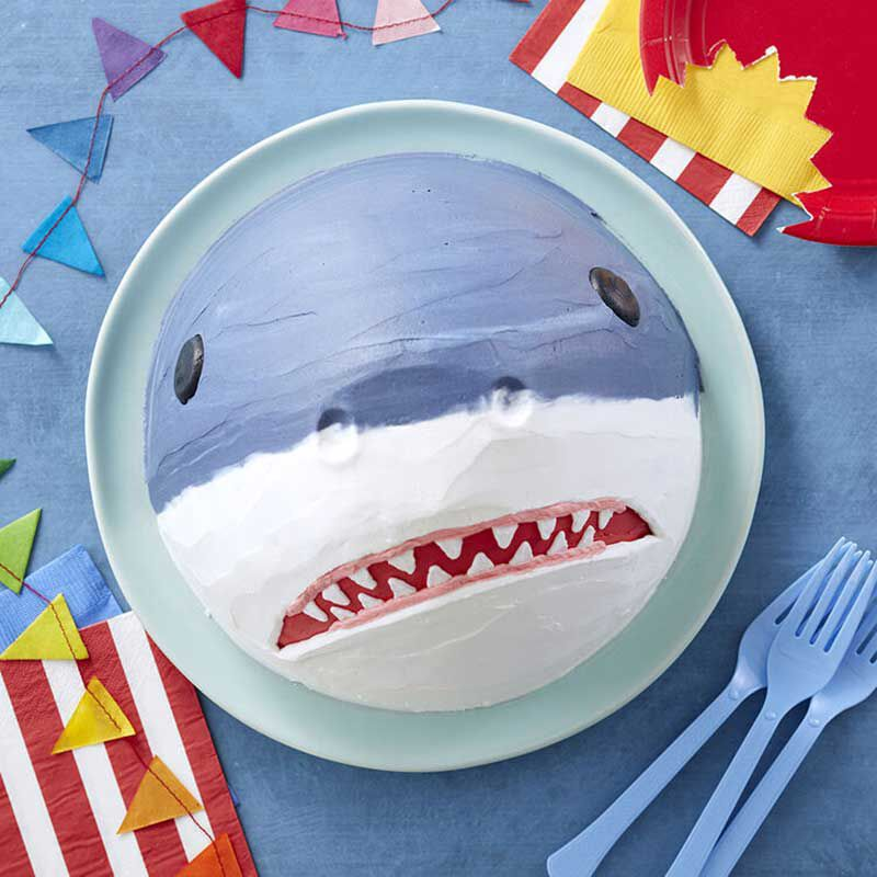 Top View of Birthday Shark Cake image number 1