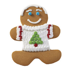 Holiday Dressed Up Gingerbread Boy with Tree Sweater