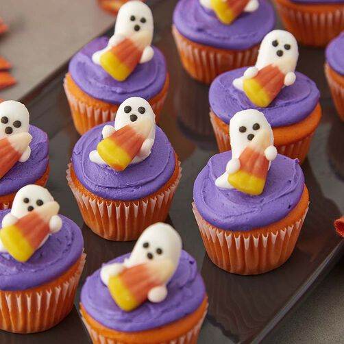 Mini Candy Corn and Ghost Cupcakes - Halloween Cupcakes