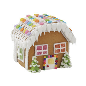 Winter Wonderland Gingerbread Village Colonial House with Flat Roof