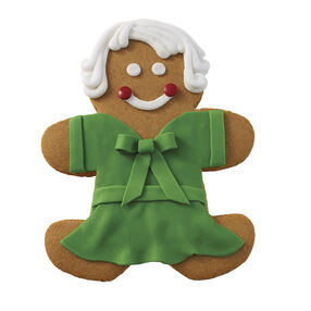 Holiday Dressed Up Gingerbread Girl with Green Dress