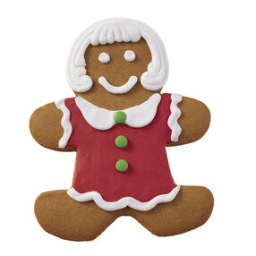 Holiday Dressed Up Gingerbread Girl with Red Dress