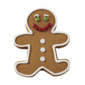 Holiday Dressed Up Gingerbread Boy with Candy Smile