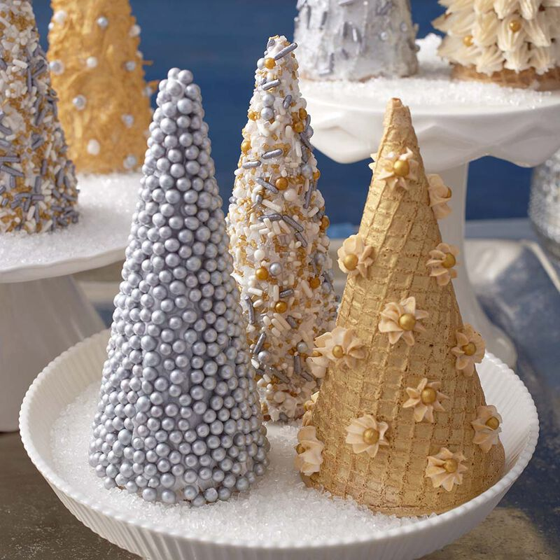 Ice Cream Sugar Cone Christmas Trees in Silver & Gold image number 0