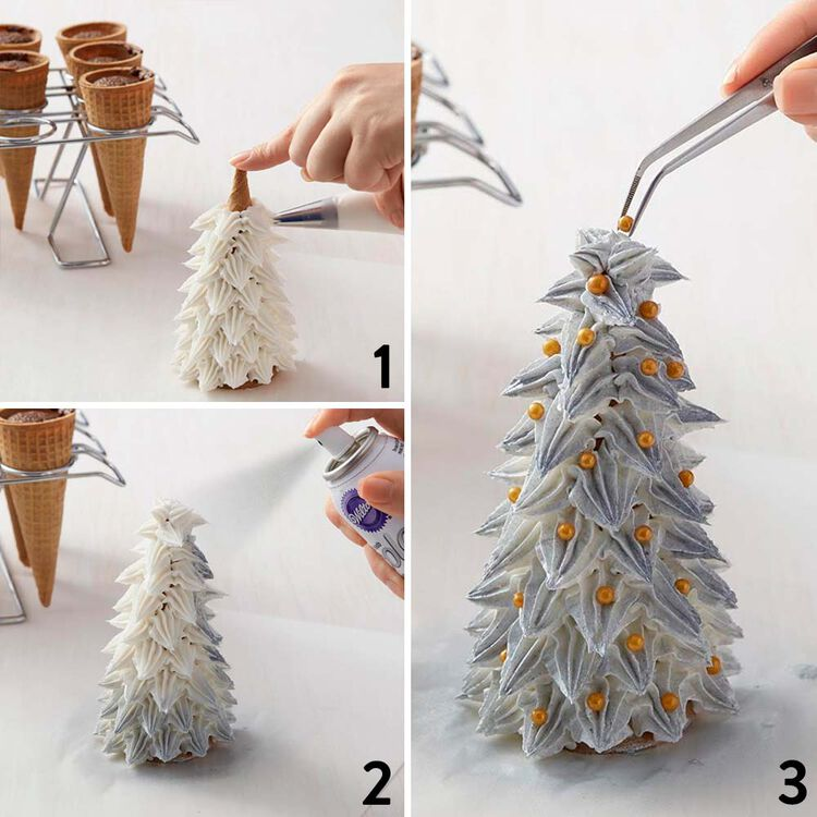 Ice Cream Sugar Cone Christmas Trees in Silver & Gold