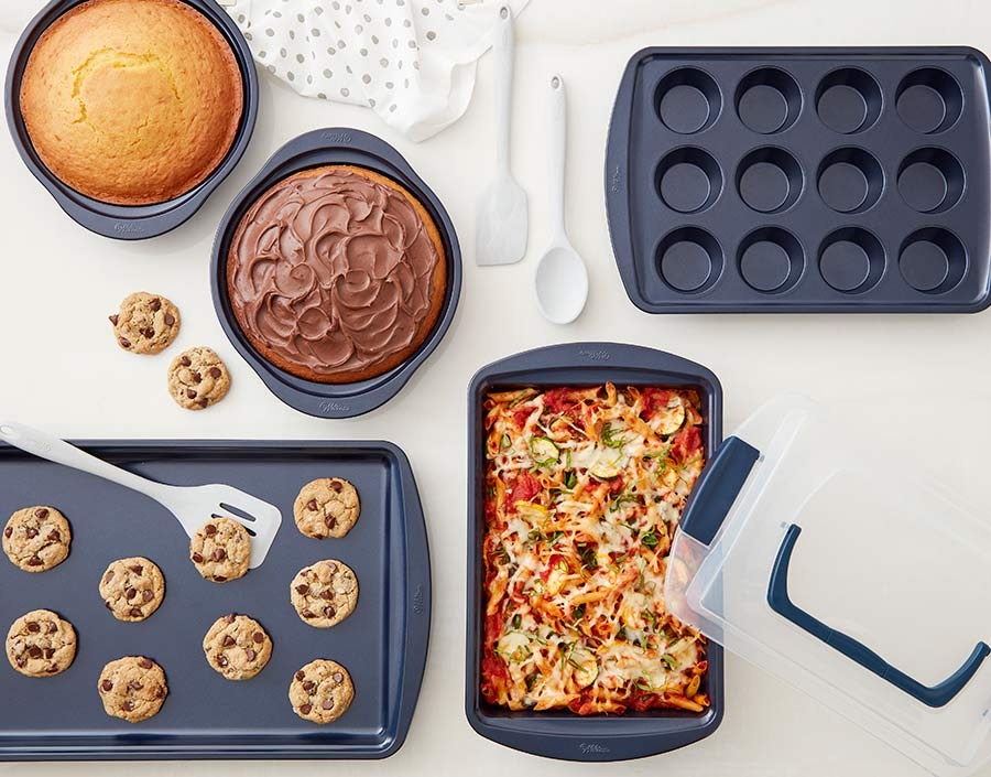 Wilton navy bakeware used to make cake, cookies, and casseroles