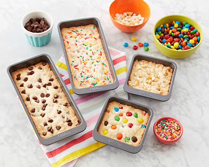 Mini Bakeware with chocolate chip, M&M, and sprinkles sugar cookies