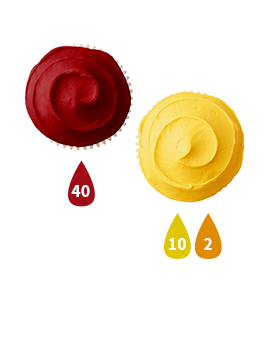 Red and Yellow Buttercream Icing Color Key