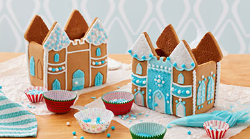 Shimmer Gingerbread Castle decorated in blue and white