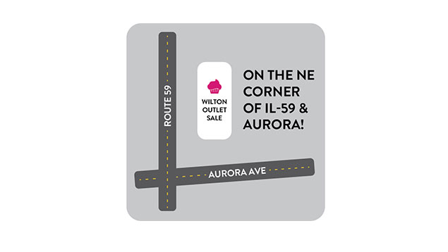 Map to location of Naperville, IL Wilton Outlet Sale. Located on the Northeast corner of IL-59 and Aurora.
