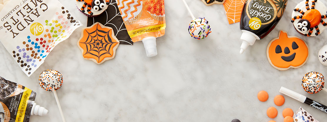 Halloween basic products, black and orange icing, sprinkles, Candy Melts, food coloring.