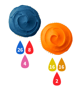Blue and Orange Buttercream Icing Color Key