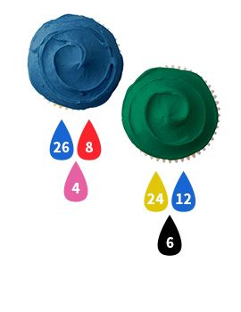Blue and Green Buttercream Icing Color Key