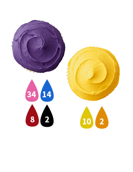 Purple and Yellow Buttercream Icing Color Key