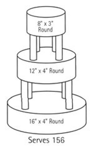 average size of round wedding cake wilton serving guide for 150 200 guests 10943